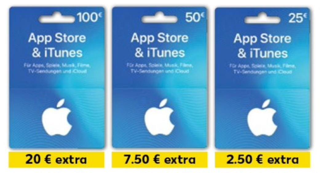 [Kaufland] Bis zu 20% extra Guthaben auf Apple App Store & iTunes Geschenkkarten