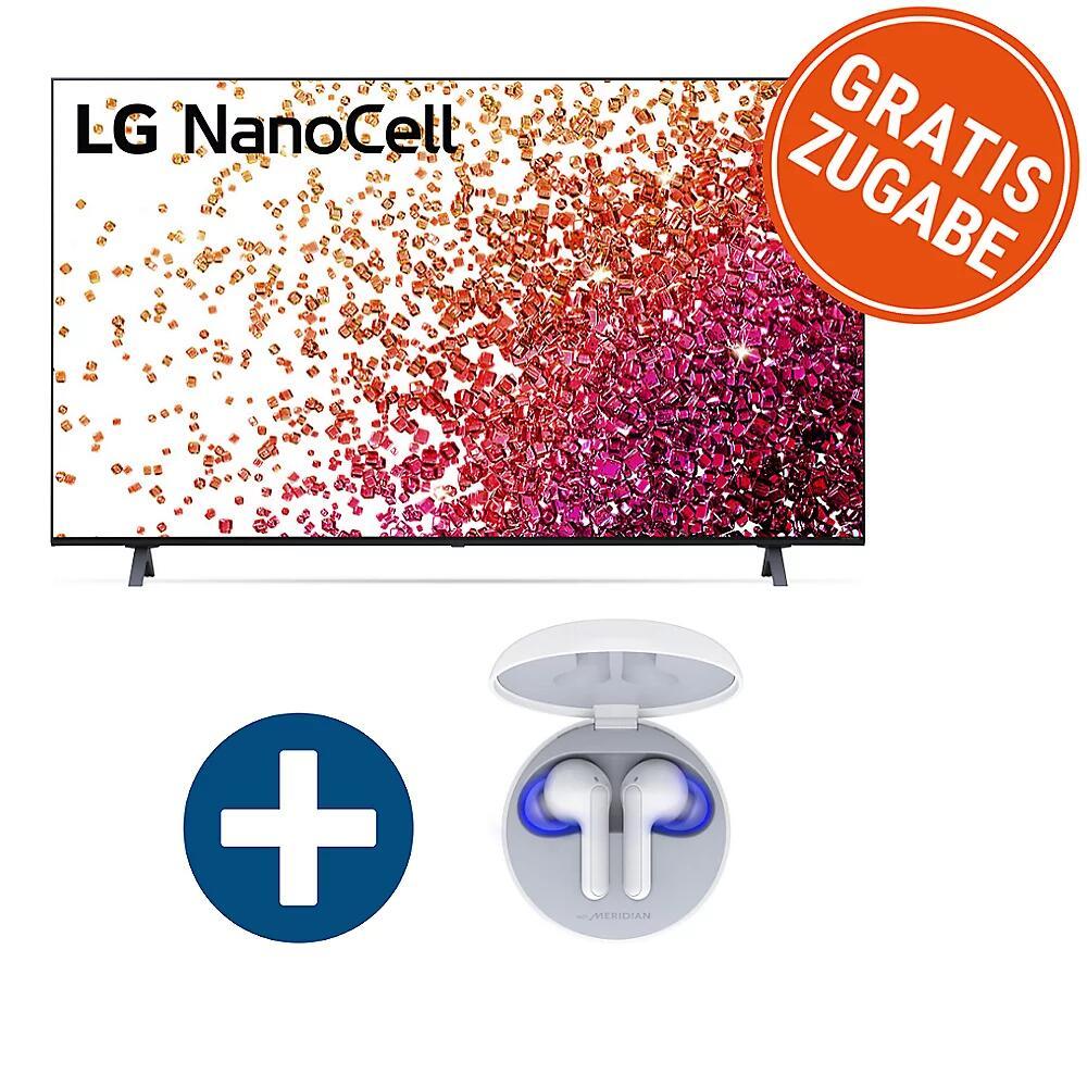 "LG 75NANO759PA Fernseher + Tone Free FN6 (75"", UHD, IPS + ""NanoCell"", Direct LED, 60Hz, 3x HDMI 2.0, eARC & ALLM, 2x USB 2.0, webOS 6.0)"