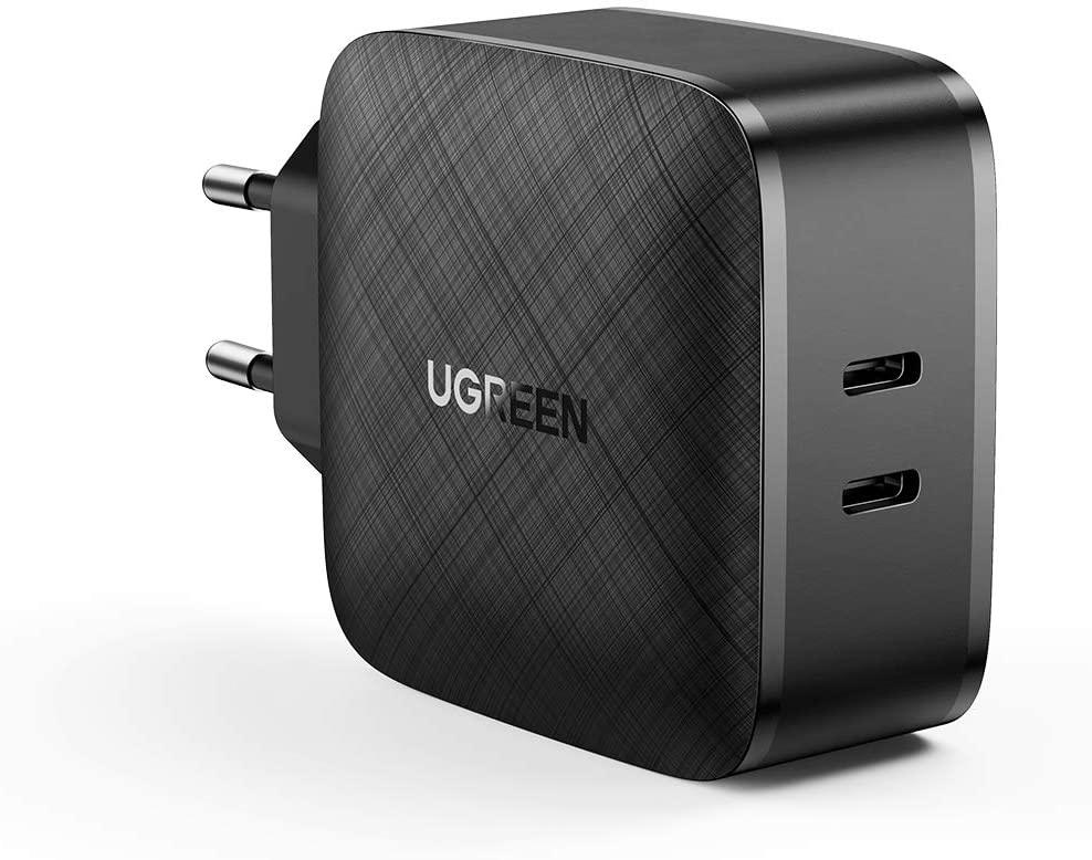 Ugreen USB-C-Ladegerät 70867 (2x USB-C, einzeln bis 66W Power Delivery bzw. Quick Charge, kombiniert bis 45W + 20W, 6x6x3.2cm)