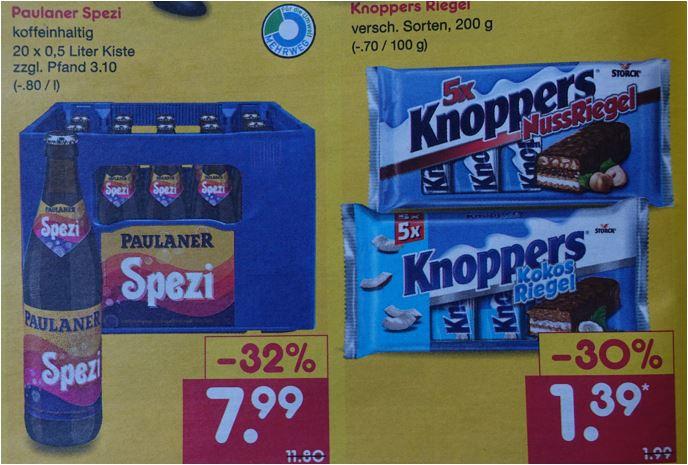 Paulaner Spezi, der Kasten 20 x 0,5 Liter für 7,99 Euro / Knoppers Riegel (versch. Sorten) 5 Stück für 1,39 'Euro [Netto MD BW]