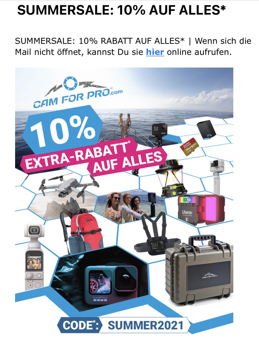 10% Rabatt bei CamForPro (GoPro, DJI,…)