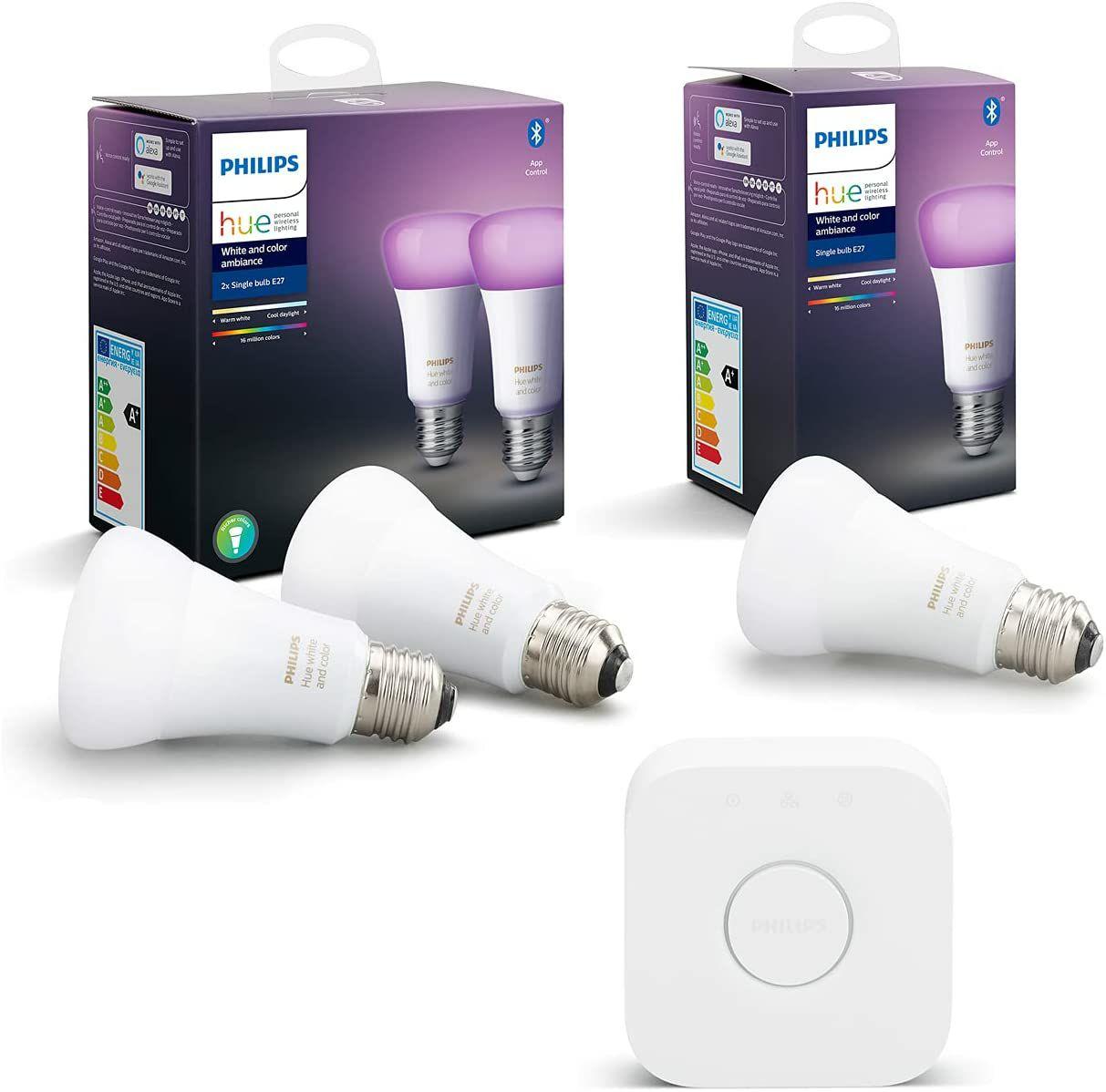 Philips Hue Starter-Set - 3× LED-Lampe White and Color Ambiance E27 Bluetooth + Bridge (Amazon UK)