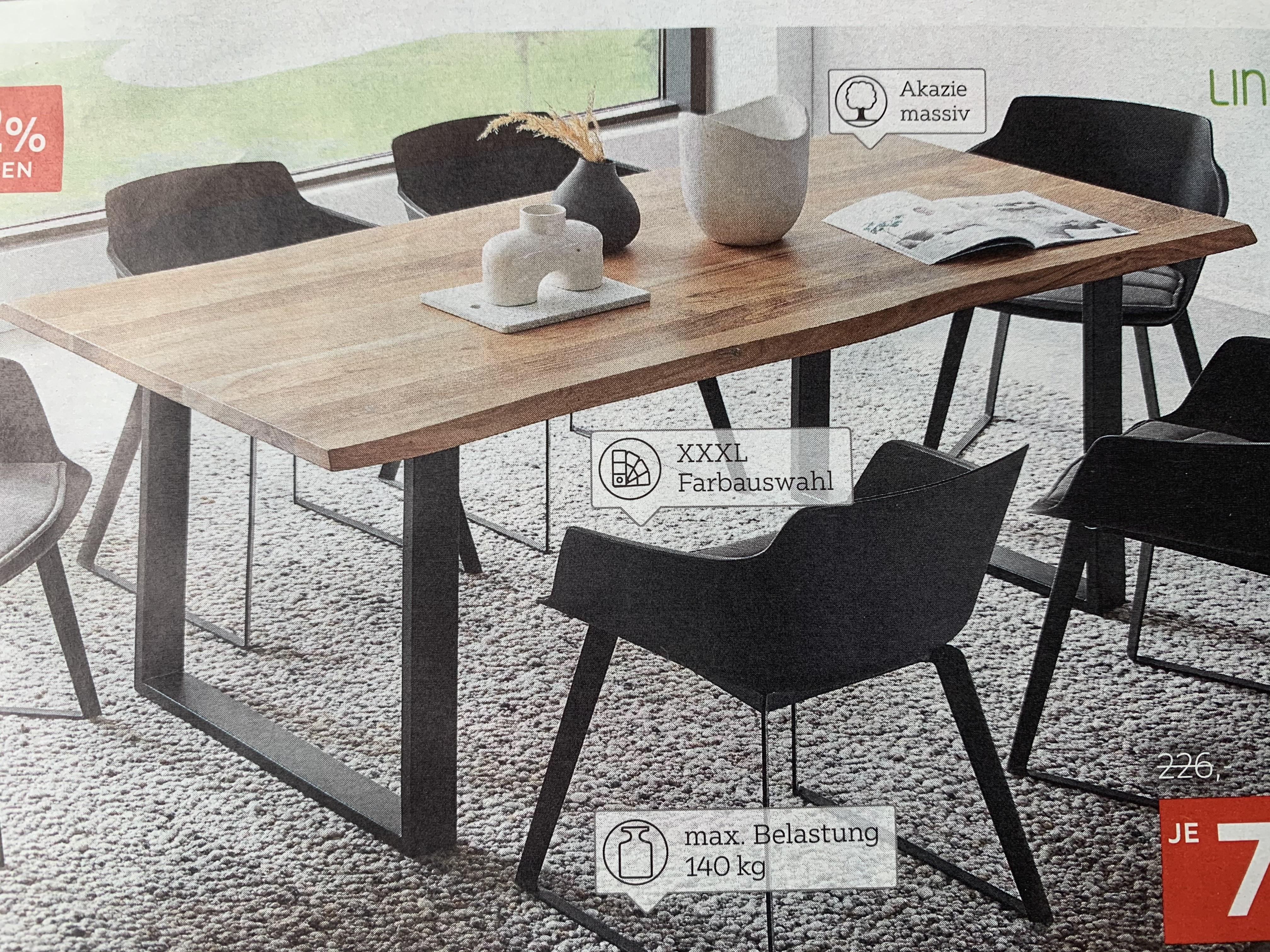 LINEA NATURA Esstisch Akazie Hartholz rechteckig Metallgestell schwarz (mehrere Größen)