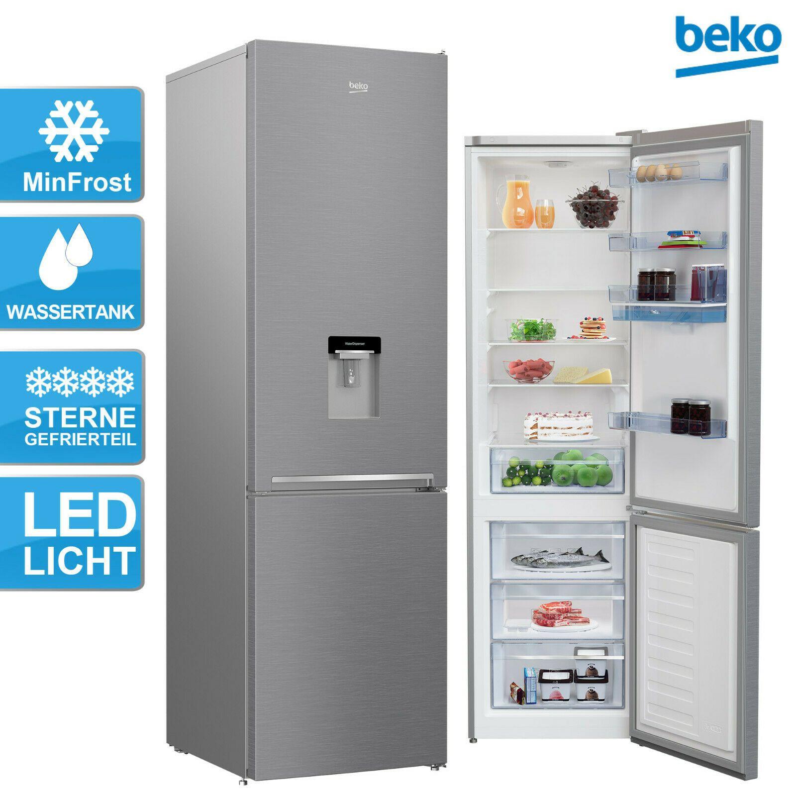 BEKO RCSA406K40DXBN 386l Kühlschrank Edelstahloptik mit Wasserspender (120l Gefrieren, 266l Kühlen, 202,5cm hoch, Türanschlag wechselbar)
