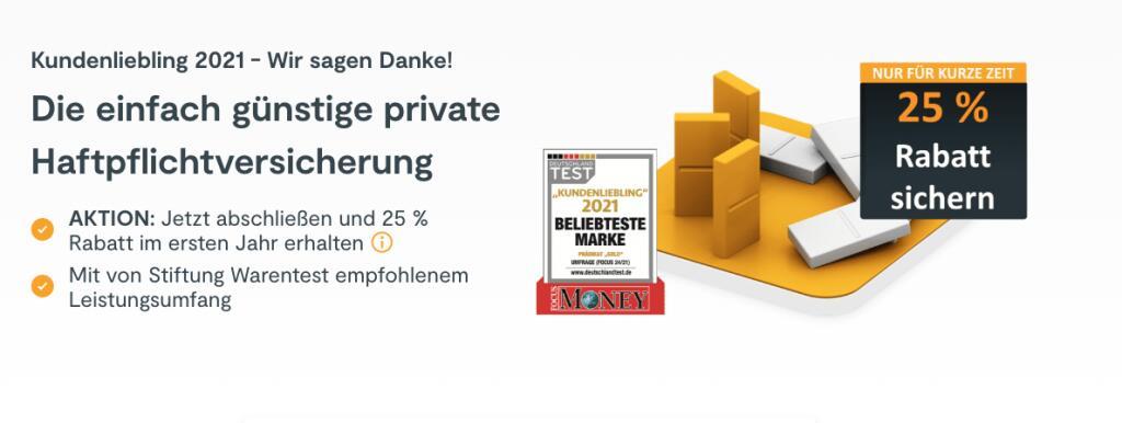 HUK24 Privathaftpflicht Versicherung mit 25% Rabatt im ersten Jahr (nur für HUK24 KfZ-Versicherung Kunden)