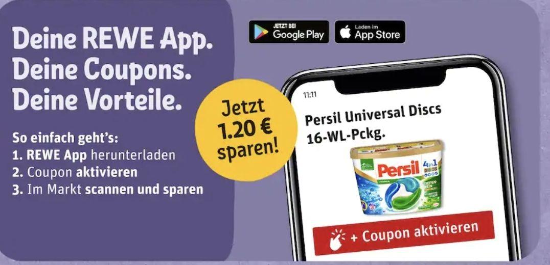 (Rewe) 1,20 EUR Gutschein (auf Persil) in der Rewe App