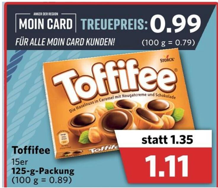 [Combi] Toffifee 15er Packung 125g (0.99€ mit Moin Card) Bahn GS möglich
