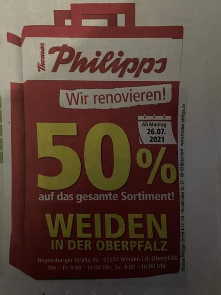 [Lokal Weiden i.d. Oberpfalz] 50% auf alles bei Thomas Philipps ab 26.7.2021 wegen Umbau