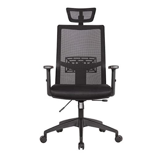 Bürodrehstuhl, Schreibtischstuhl, ergonomischer Netzstuhl, verstellbare Kopfstütze / Lordosenstütze