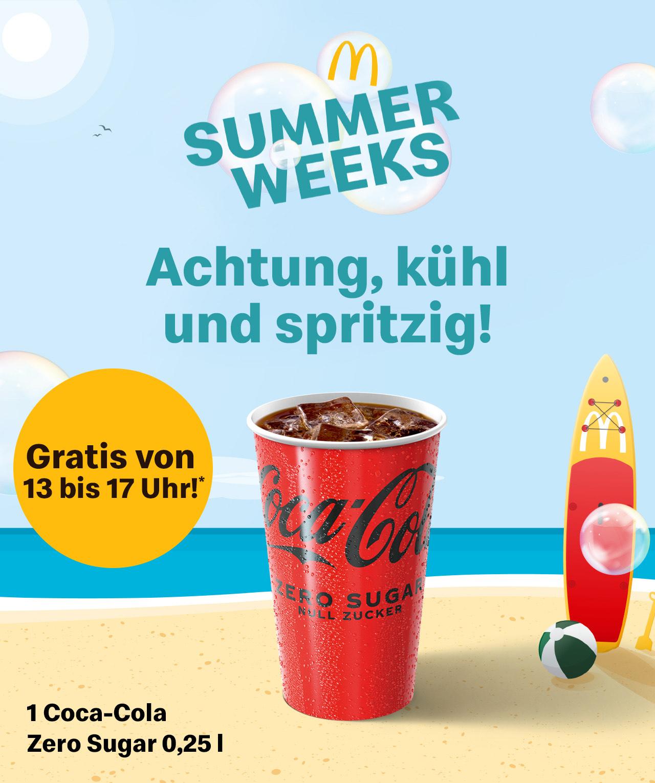 McDonalds App: Coca‑Cola Zero Sugar 0,25 l gratis (von 13 - 17 Uhr)