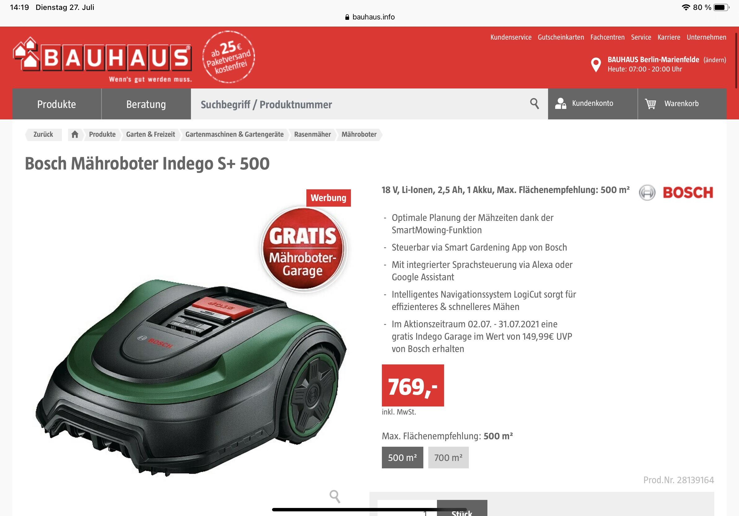 (Bauhaus TPG) Bosch Indego S+500 Rasenmähroboter mit Garage