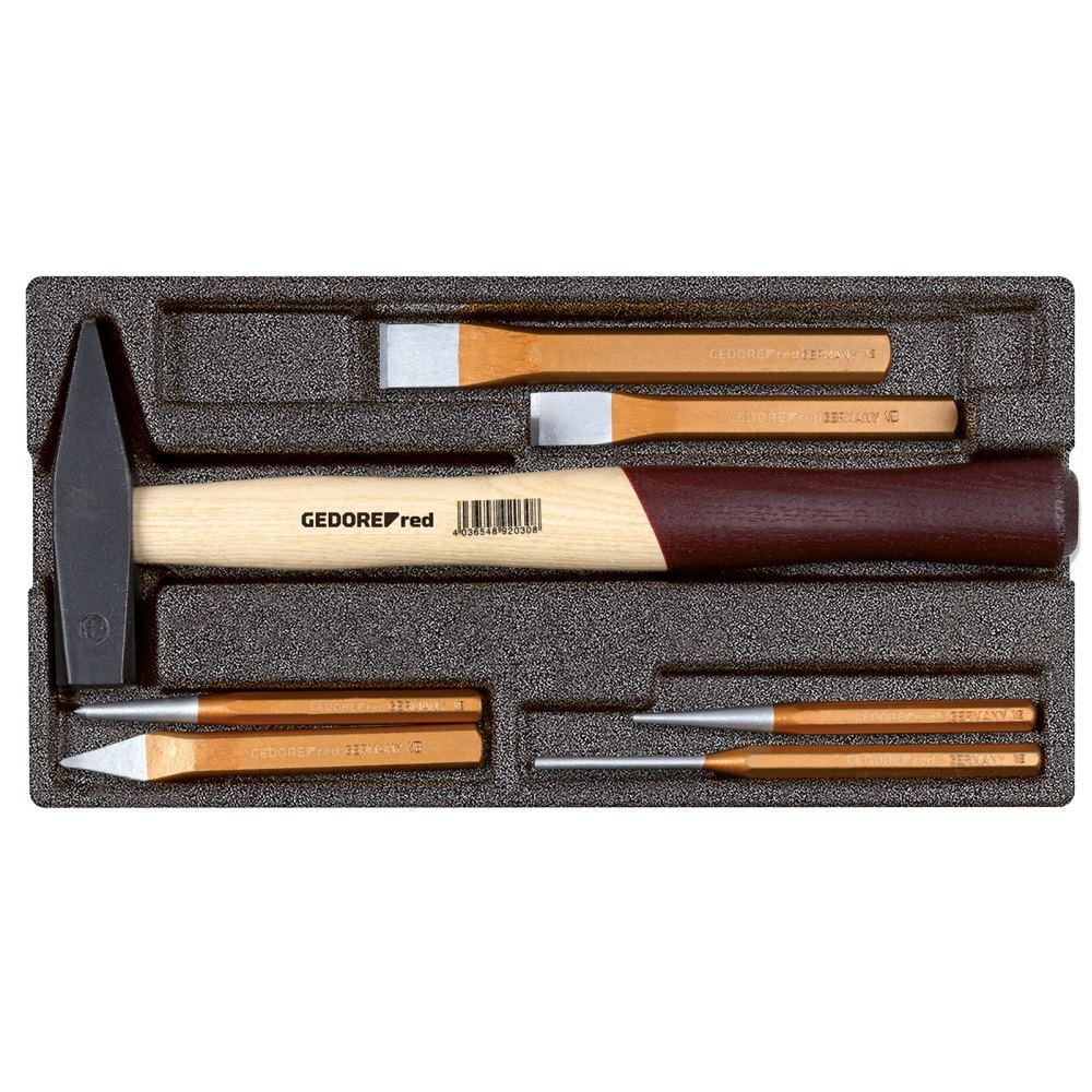 GEDOREred Hammer- und Meißel-Satz im 1/3 Schaumstoffmodul. 7-teilig 14,11€ + Versand
