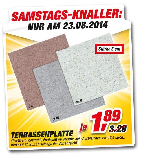[toom Baumarkt] Terassenplatten 40x40 für 1,89€ (11,81€ / qm)