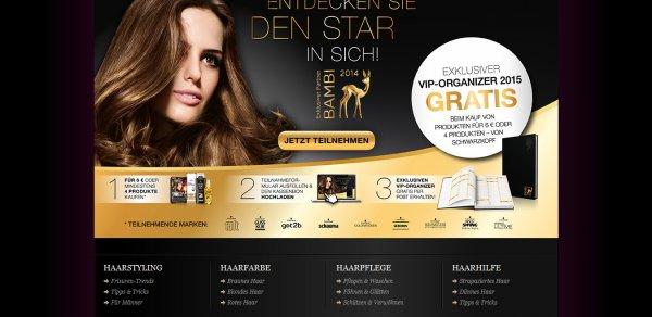 VIP-Organizer 2015 gratis bei Kauf von min. 4 Schwarzkopf-Produkten oder 6€