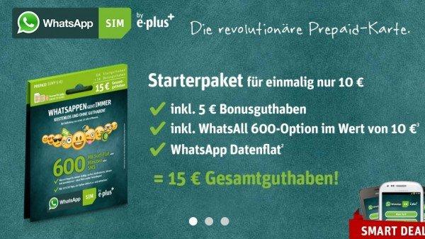 WhatsApp SIM mit 15 € GuthabenWhatsApp SIM mit 15 € Guthaben für 7,50 € – auch ohne Guthaben WhatsApp gratis nutzen