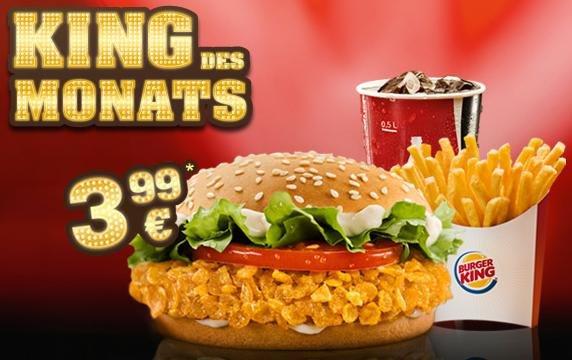 Crispy Chicken Menü für 1,99€ bei Burger King in 17 Filialen durch Opentabs App