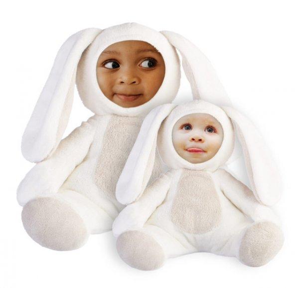 Ostergeschenk für die Kleinen: Plüschhase mit eigenem Foto als Gesicht