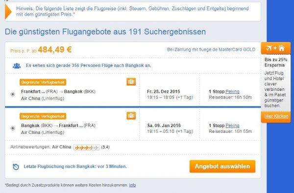 Frankfurt - Bangkok - Frankfurt in den Weihnachtsferien für 475€ mit Air China (Boeing 777-300)