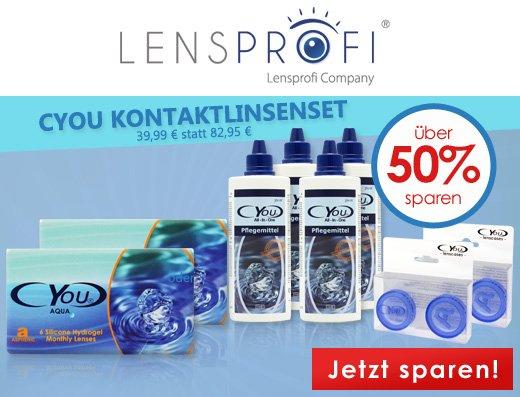 12x Lensprofi Monatslinen + 4x Kontaktlinsenpflegemittel + 2x Kontaktlinsen-Aufbewahrungsbehälter 39,99€