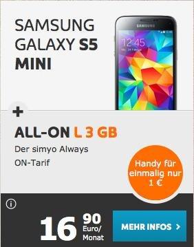 Simyo, 3GB und 200min/SMS und Samsung Galaxy S5 Mini für 16,90 pro Monat