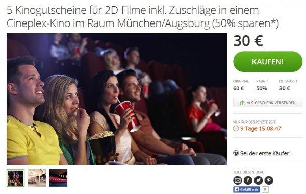 [lokal Germering / Aichach / Königsbrunn / Meitingen / Memmingen / Penzing] 5x Cineplex 2D Tickets für 22,50€ = 4,50€ pro Kinoticket