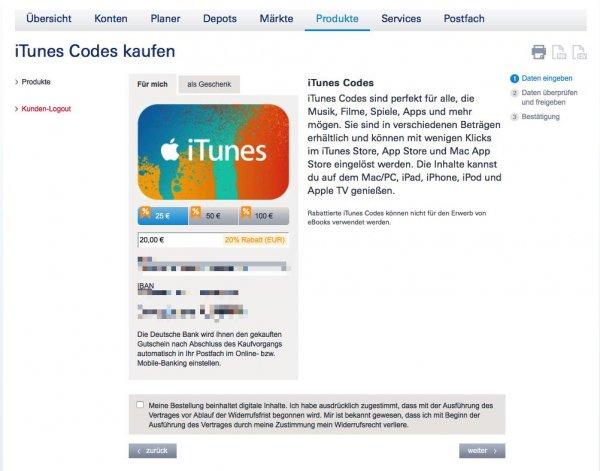 iTunes Guthaben mit 20% Rabatt im Online Banking der Deutschen Bank. Auch für die 25€ Karte!