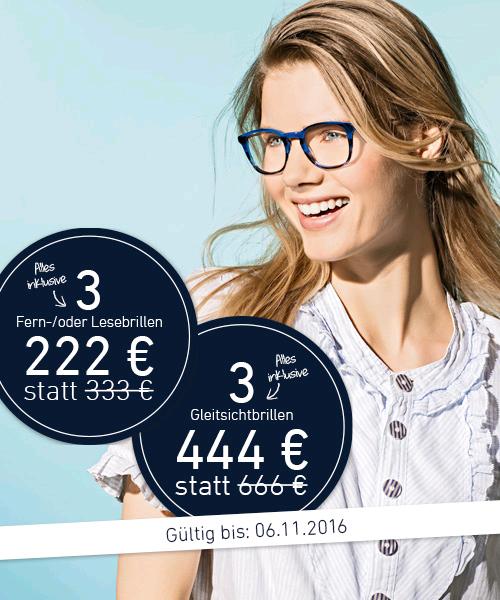 Eyes and more 3 Fern/lesebrillen 222€ und 3 Gleitsicht für 444€