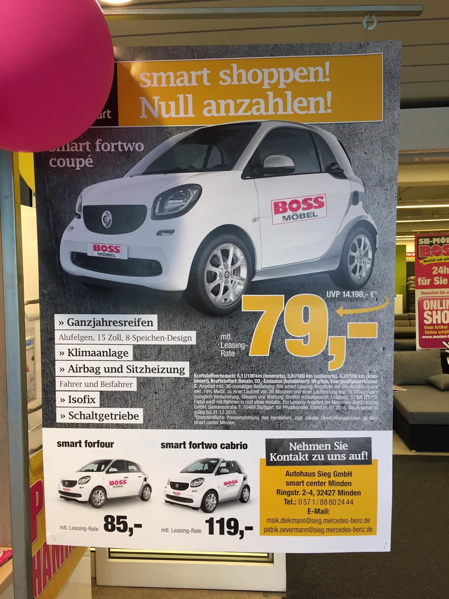 (smart / SB-Möbel Boss) Privatleasing smart fortwo 36 Monate/10Tkm p.a. MIT Werbeaufkleber auf dem Fahrzeug OHNE Anzahlung (auch smart forfour und smart fortwo cabrio)