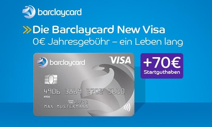 Barclaycard New Visa mit 70,- Eur Startguthaben