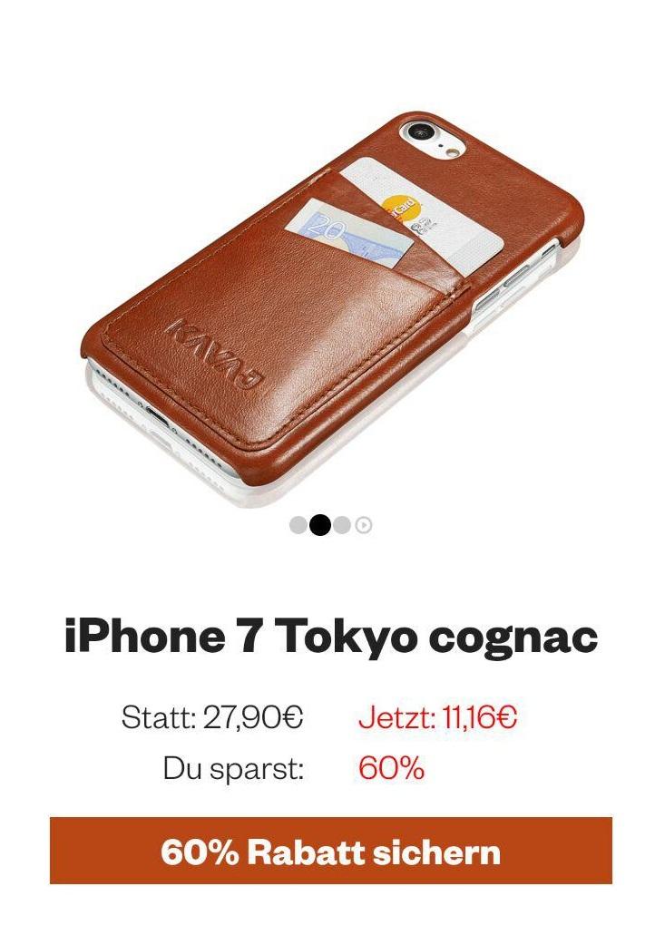 """[Über KAVAJ -> Amazon.de - Prime] KAVAJ Iphone 7 Lederhülle """"Tokyo"""" braun o. schwarz für 11,16 Euro"""