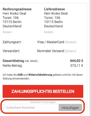 Gutschein-Nummer bei comtech.de einlösen