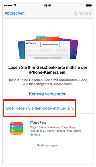 Apple Geschenkkarten-Code manuell eingeben