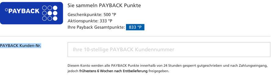 wieviel sind 100 payback punkte wert
